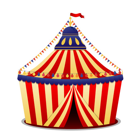circus vector: Abstract circus striped tent on white background - vector illustration