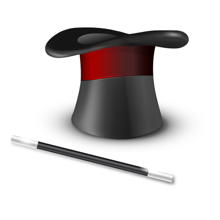 magical equipment: Glossy magic hat and wand isolated on white background - vector illustration Illustration