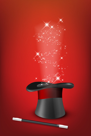 conjuring: Glossy magic hat, wand and shiny stars on red background- vector illustration