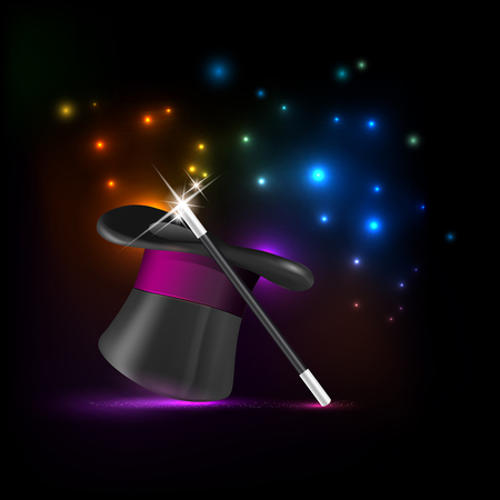 conjuring: Glossy magic hat, wand and shiny lights - vector illustration Illustration