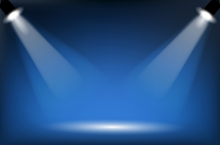 dais: Two reflectors with headlight beams on blue background - place for your text or object. Illustration. Stock Photo