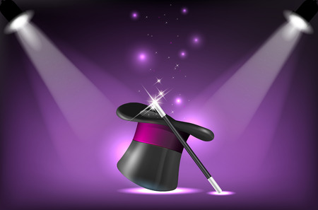dais: Illustration of magicians hat and wand on stage lighting reflectors Stock Photo