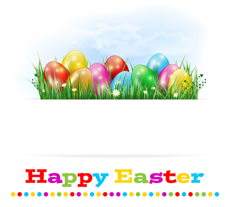 grass flowers: Happy Easter card with easter eggs, grass, flowers and sky - isolated on white background. Place for text. Vector illustration.