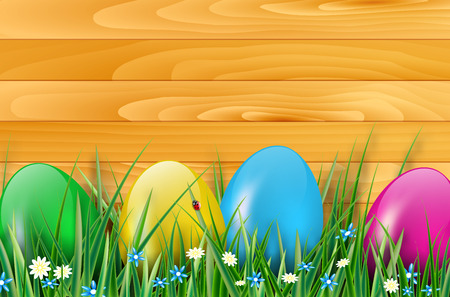easter flowers: Easter background with easter eggs, wooden planks, grass, and flowers. Vector illustration.