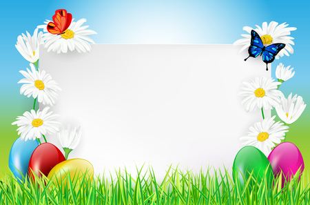 Easter background with paper card, easter eggs, grass, butterflies and daisy flowers. Vector illustration. Çizim