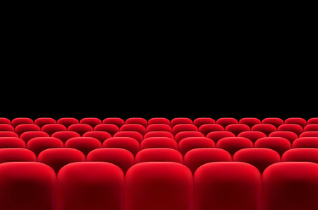 theater auditorium: Auditorium with rows of red seats - vector illustration