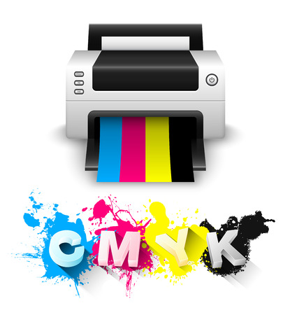 color splash: CMYK print concept with printer, 3D letters and CMYK splashes - isolated on white background. Vector illustration. Illustration