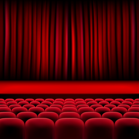 auditorium: Theater auditorium with rows of red seats and stage with curtain - vector illustration Illustration