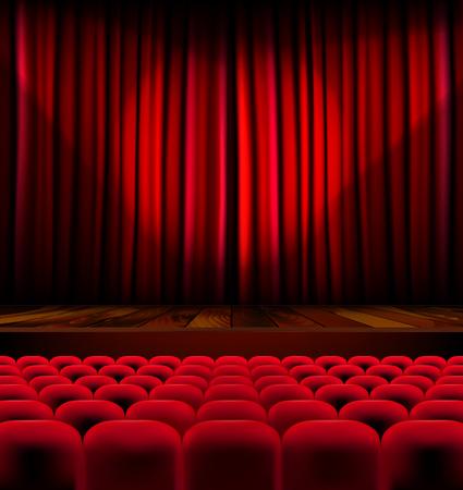Theaterzaal met rijen van rode stoelen en podium met gordijn - vector illustratie