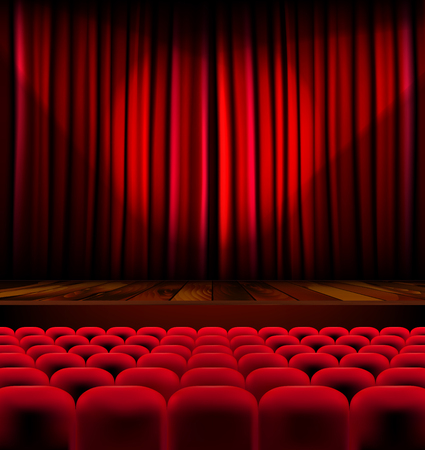 Theater auditorium with rows of red seats and stage with curtain - vector illustration Stock Illustratie