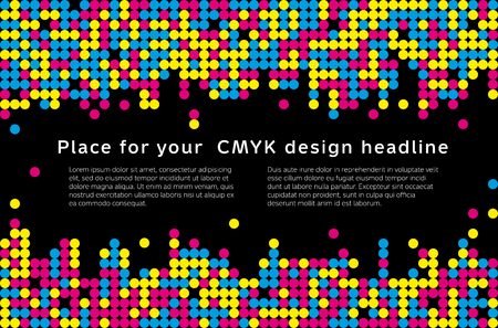 Abstract mosaic background from CMYK colors with place for text - print concept. Vector illustration. 일러스트