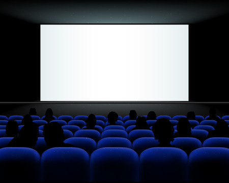onlooker: Cinema auditorium with blue seats, people silhouettes and blank screen - vector illustration