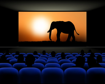 onlooker: Cinema hall with rows of blue seats, spectators and screen with movie about elephants - vector illustration Illustration