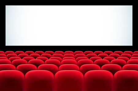 musical theater: Cinema auditorium with rows of red seats and blank screen for your text - vector illustration