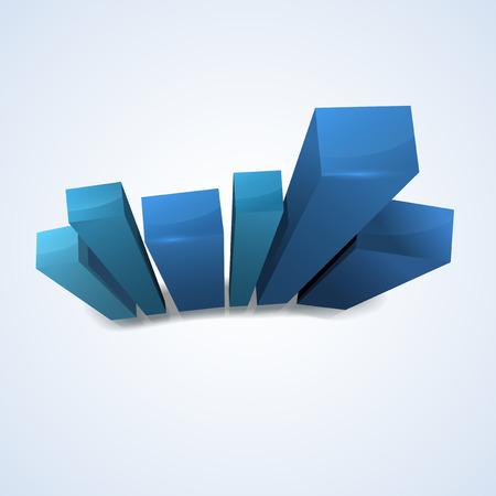factor: Shiny column abstract blue graph - vector illustration