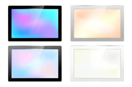 shiny: Set of glossy screen frames for your text - isolated on white background. Vector illustration.