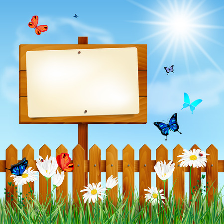 fences: Wooden fence and blank sign on summer meadow with grass, daisy flowers, butterflies and blue sky with sun and clouds - place for your message. Vector illustration. Illustration