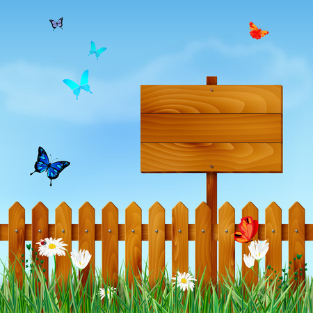fences: Wooden fence and blank sign on spring meadow with grass, daisy flowers, butterflies and blue sky with clouds - place for your text. Vector illustration. Illustration