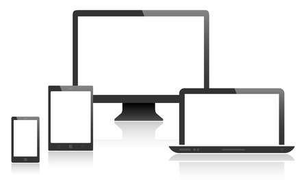 web site design template: Different devices with blank screen - place for your text or graphic. Isolated on white background. Vector illustration.