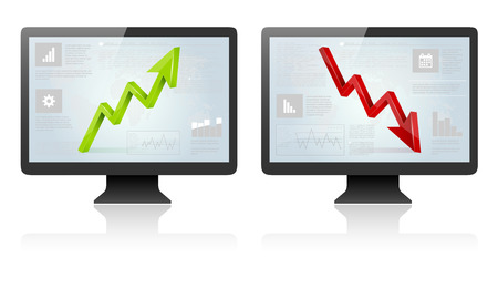 up and down: Computer screens with green and red 3D arrow and abstract business background - isolated on white. Vector illustration. Illustration