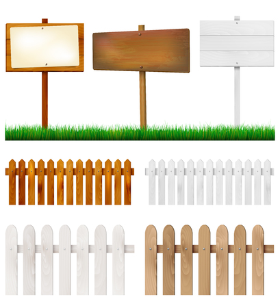 white wood: Set of wooden fences and signs with grass - isolated on white background. Vector illustration. Illustration
