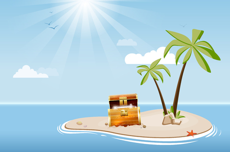 Desert island with palm trees and treasure chest under a blue sky with clouds - vector illustration Illustration