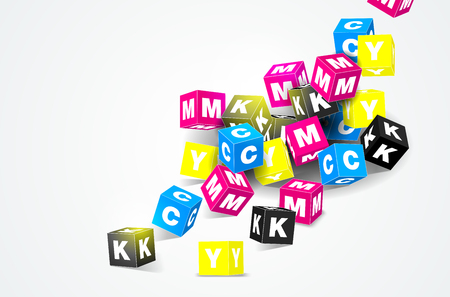 cmyk: CMYK print concept with 3D cubes on white background - vector illustration