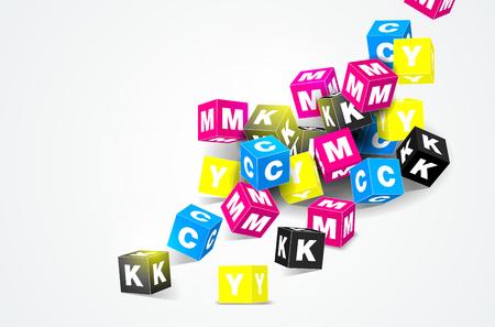 CMYK は白い背景のベクトル図の 3 D キューブのコンセプトを印刷します。
