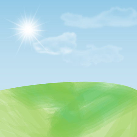 simple sky: Simple abstract summer landscape with meadow, sky, sun and clouds - vector illustration Illustration