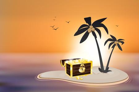desert island: Desert island with treasure chest and sunset - vector illustration