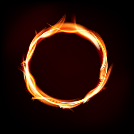 fiery: Fiery circle of flames on dark background - place for your message. Vector illustration.
