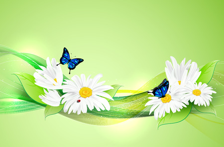 green butterfly: Natural wavy background with flowers, leafs and butterflies - place for your text. Vector illustration. Illustration