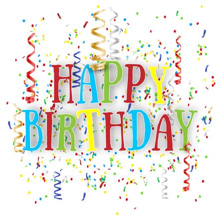 Fondo del feliz cumpleaños con el vuelo de confeti sobre fondo blanco. Ilustración del vector. Ilustración de vector