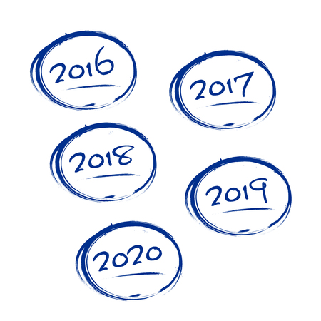 Blue grungy frames with 2016-2020 years signs - isolated on white background. Vector illustration.