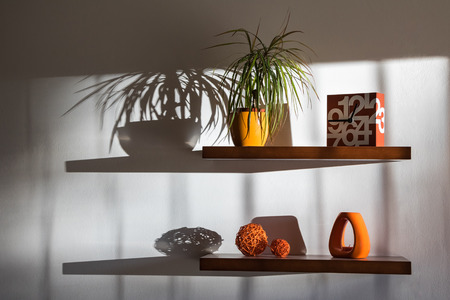 home life: Still life with shelves, home decorations and their shadows on white wall