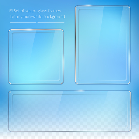 square button: Set of transparent glass frames - background for your text - vector illustration