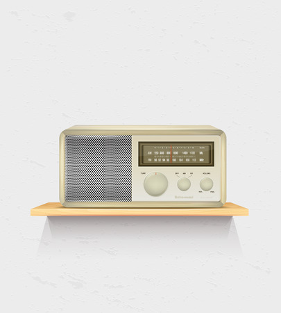 wooden shelf: Retro radio on wooden shelf and white wall - place for your text