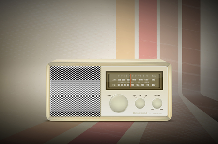 vignetting: Vintage wooden radio on retro stripe background with vignetting - vector illustration Illustration