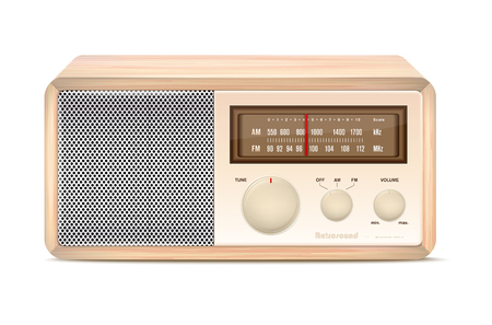 Wooden abstract vintage radio on white background Illustration