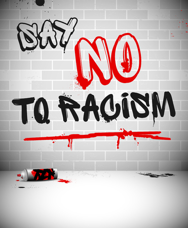 Graffiti op bakstenen muur - ZEG NEE TEGEN RACISME kop.