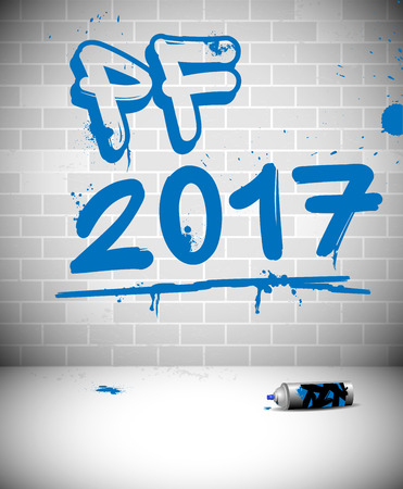 pour feliciter: Blue graffiti on brick wall - PF 2017 - original new year greeting card with place for text.