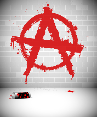 anarchy: Graffiti on brick wall - red anarchy sign.