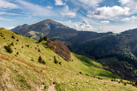 Gorgeous spring mountain landscape with blue sky and clouds - Little Fatra hills, Slovakia, Europe