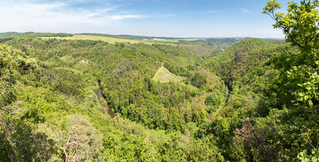 Panorama of the river valley from above. Spring landscape with meander of Oslava river, Czech Republic, Europe.