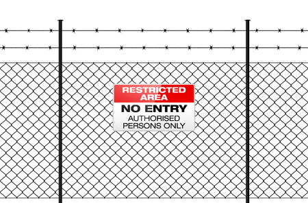 Fence with barbed wire and sign NO ENTRY. Isolated wire fence - RESTRICTED AREA sign. Metal sign RESTRICTED AREA - NO ENTRY on metal fence with barbed wire. Wire fence isolated on white. Ilustração