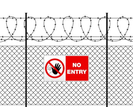 Ogrodzenie z drutu kolczastego i podpisać No Entry. Metal podpisać bez wjazdu na metalowym ogrodzeniem z drutu kolczastego. ogrodzenie z drutu na białym.