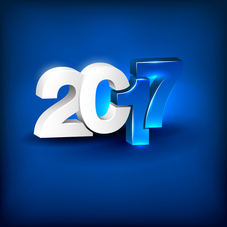 Glowing 3D lettering 2017 on blue background. Greeting card for New Year 2017 with place for text. Happy New Year 2017 3D icon. Vector illustration.
