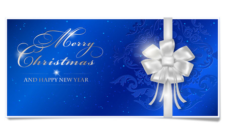 blue ribbon: Merry Christmas and Happy New Year card with shiny silver bow. Blue Merry Christmas voucher with place for your text. Happy New Year card with shines, dots and floral ornament. Christmas paper wish isolated on white background. Vector illustration.
