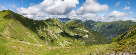 panoramic sky: Panoramic view of summer West Tatras mountains under blue sky with clouds - Slovakia, Europe