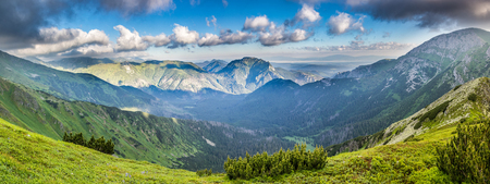 panoramic sky: Panoramic view of summer mountains under blue sky with clouds - Western Tatras, Slovakia, Europe